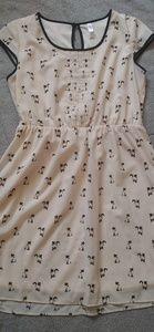 Cat print cap sleeve dress